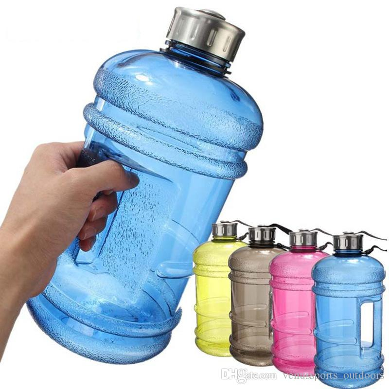 large water bottles in blue, pink, yellow, and brown