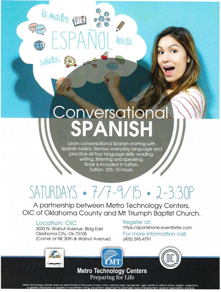 Conversational Spanish Class Flyer