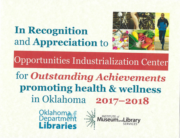 OIC Health Literacy Recognition Certificate
