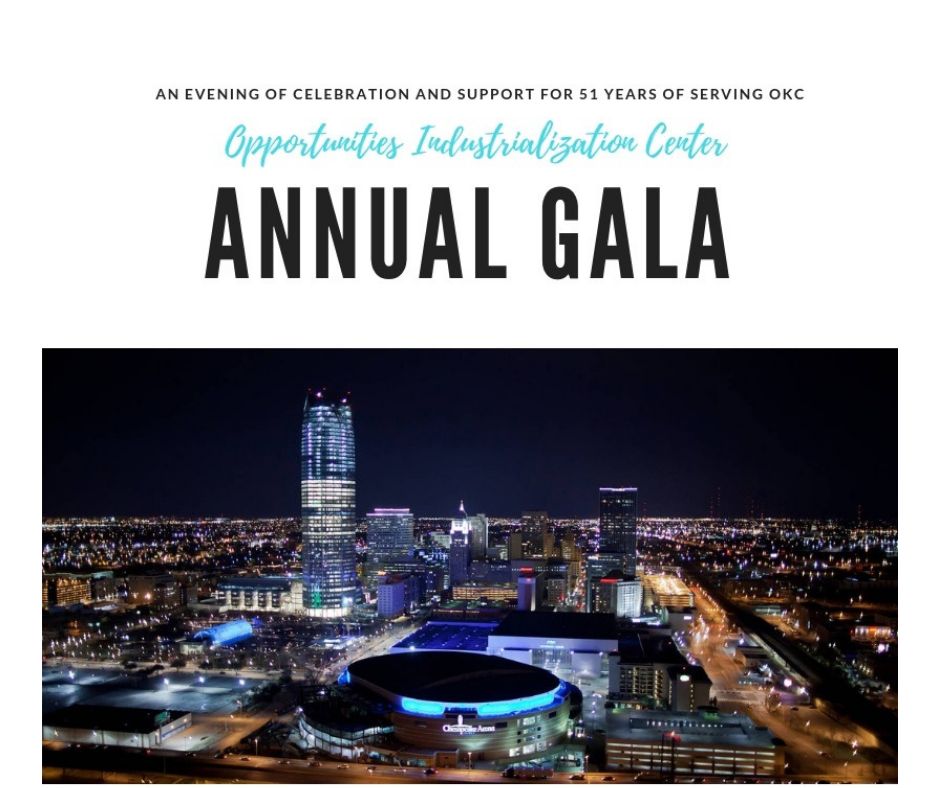 nighttime shot of okc skyline with invitation in blue letters to attend 2019 Gala.