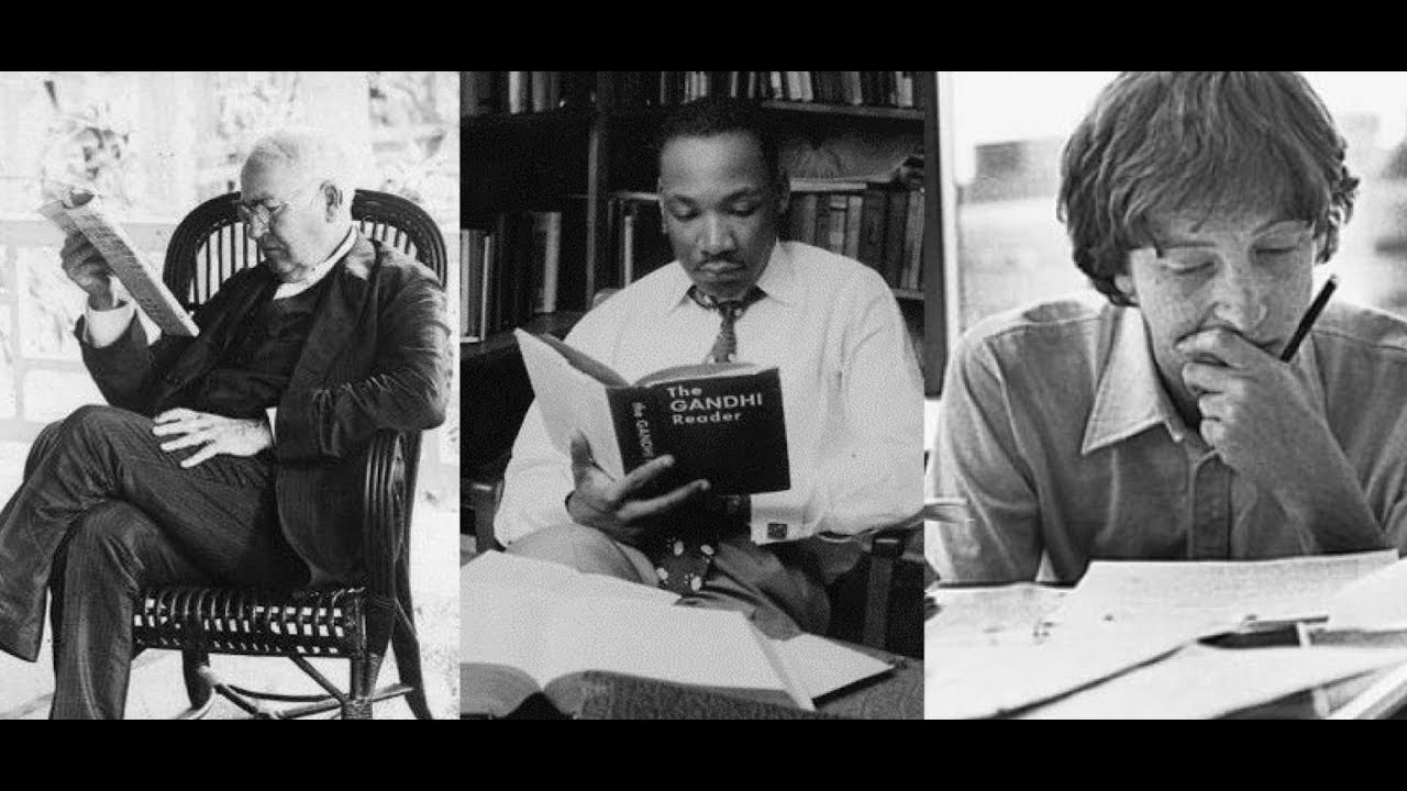 black and white photo of famous people reading